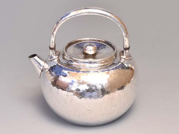 古美術ささき / 純銀 銀瓶 鉄砲口 平安 英青堂(造) 共箱